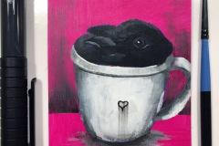 Gina Ketelaars Studio Ginart Acrylverf Konijn In Kopje