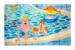 gina_ketelaars_studio_ginart_traditioneel_mixed_media_prent_zwemmen